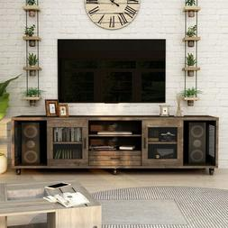 Industrial Style 70-inch Walnut Wood Media TV Stand Console