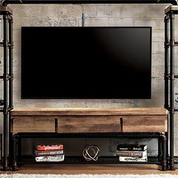 """BOWERY HILL Industrial 60"""" TV Stand in Antique Black"""
