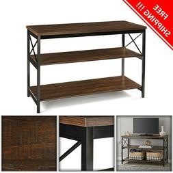 Industrial TV Stand Console Table Storage Wooden Living Room