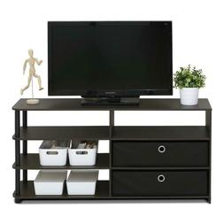 Furinno Jaya TV Stand Walnut Durable Wood Entertainment Stor