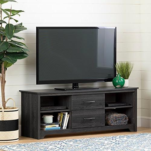 TV Stand with Drawers, Gray Oak