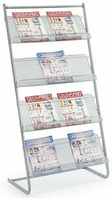"Displays2go 25"" Floor Standing Magazine Rack 4-Tier Steel MS"