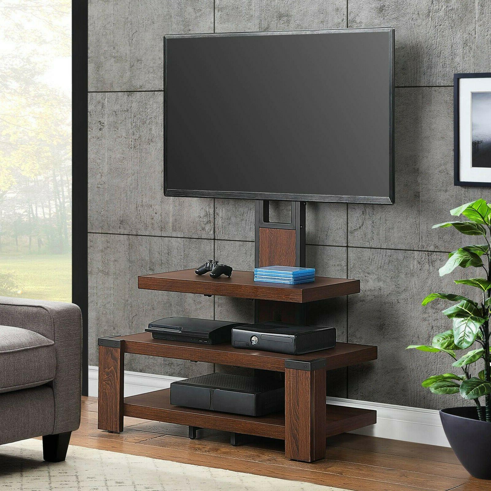 3 shelf television stand with floater mount