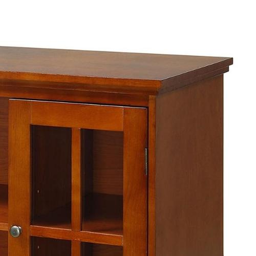 """42"""" Transitional Stand Media Entertainment Storage Cabinet Wood"""