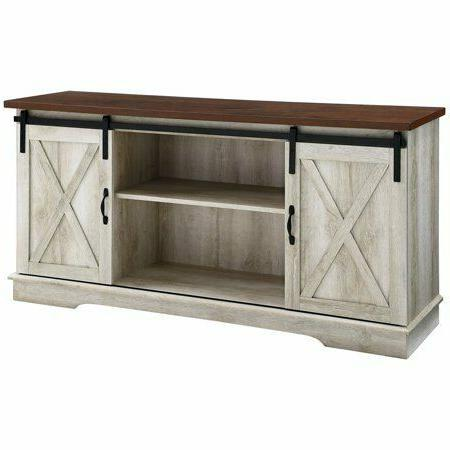 58 inch Sliding Barn Door TV Stand Media Console in White Oa