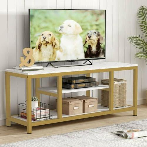 """59"""" White+Gold 3Tier TV Stand Modern Sofa Console Entryway T"""