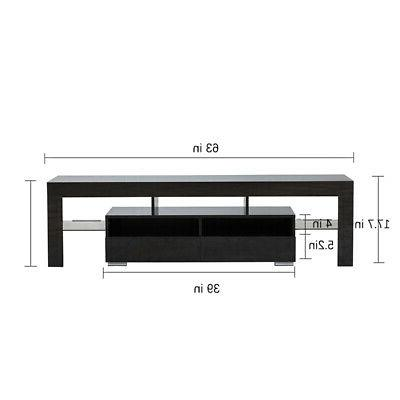Modern Black 63in Gloss TV Cabinet Unit Console for