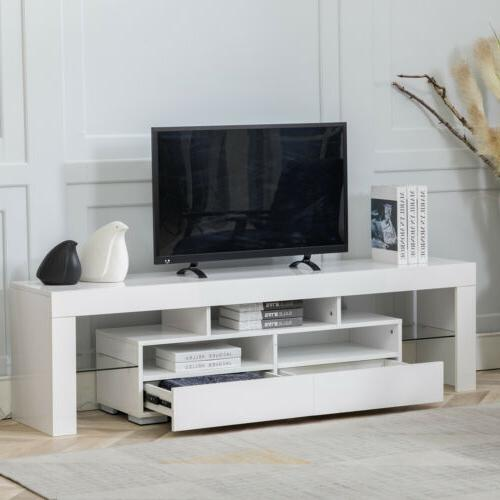 """63"""" High Gloss Stand Cabinet Console Furniture LED 2 Drawers"""
