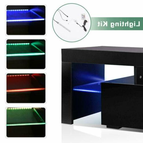 """63"""" Gloss Stand Furniture with LED Shelve 2 Drawers"""