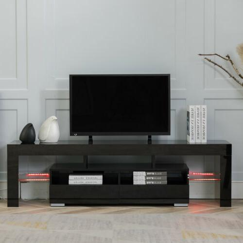 """63"""" High Gloss Stand Cabinet Furniture with 2 Drawers"""