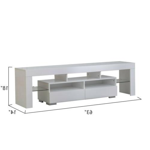 """63"""" High Gloss TV Stand Console Unit Furniture with 2"""