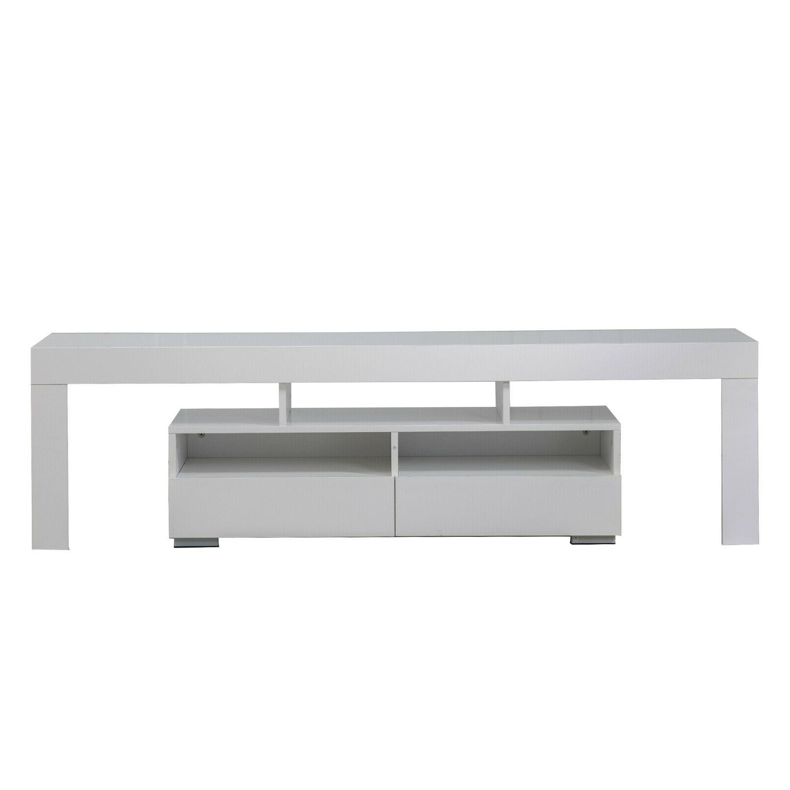 """63"""" Cabinet Console Table LED 2 Furniture White"""