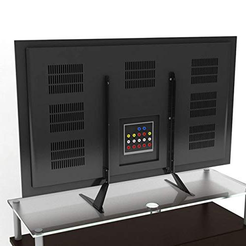 """Atlantic Top Stand Adjustable Table Top Stand, Adjust Base for Flat TV up to 42"""" 66 lbs, in Black"""