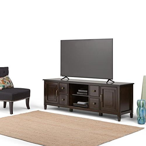 Simpli Home Connaught Wood Stand up to 80 Dark Chestnut