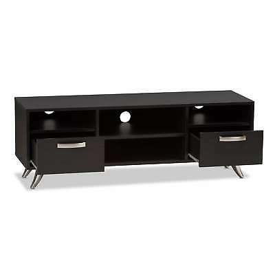 Contemporary Wood TV Stand Baxton Espresso