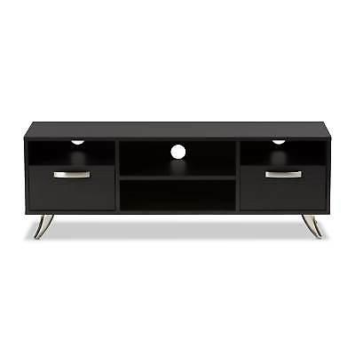 Contemporary Dark Finished Wood Stand Baxton Espresso