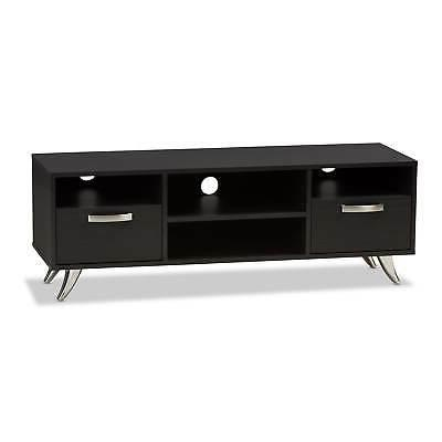 Contemporary Dark Wood TV Stand by Baxton Traditional, C