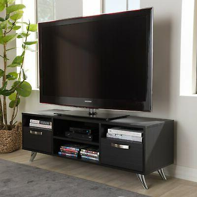 contemporary dark brown finished wood tv stand
