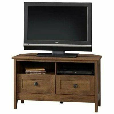 august hill corner tv stand in oiled