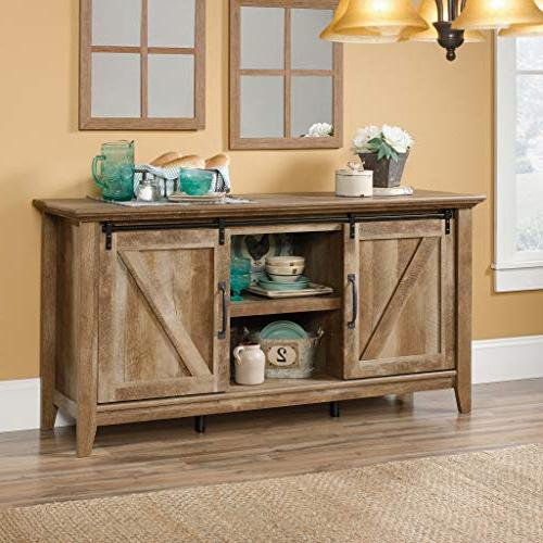 Sauder 420820 Credenza, Tvs to Craftsman Oak finish