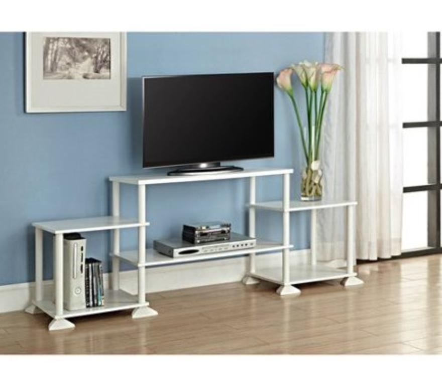 Dorm Room Tv Stand Storage Long Entertainment Center Low Whi