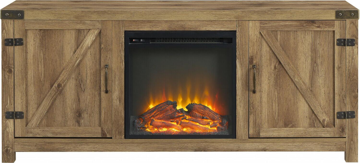 """Electric Fireplace 70"""" TV Stand Entertainment Media Wood Barn Heater"""