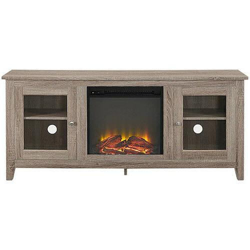 Electric TV Stand Driftwood Wood Console Heater Entertainment