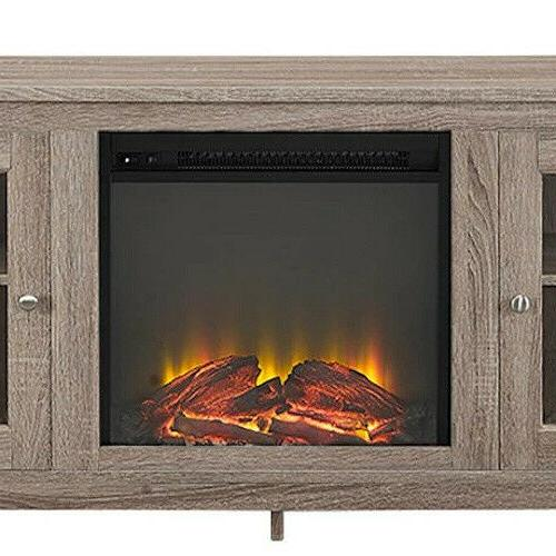 Electric Fireplace Stand Driftwood Heater