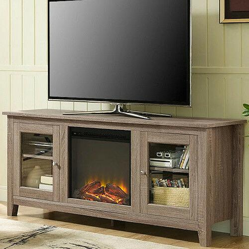electric fireplace tv stand driftwood media wood