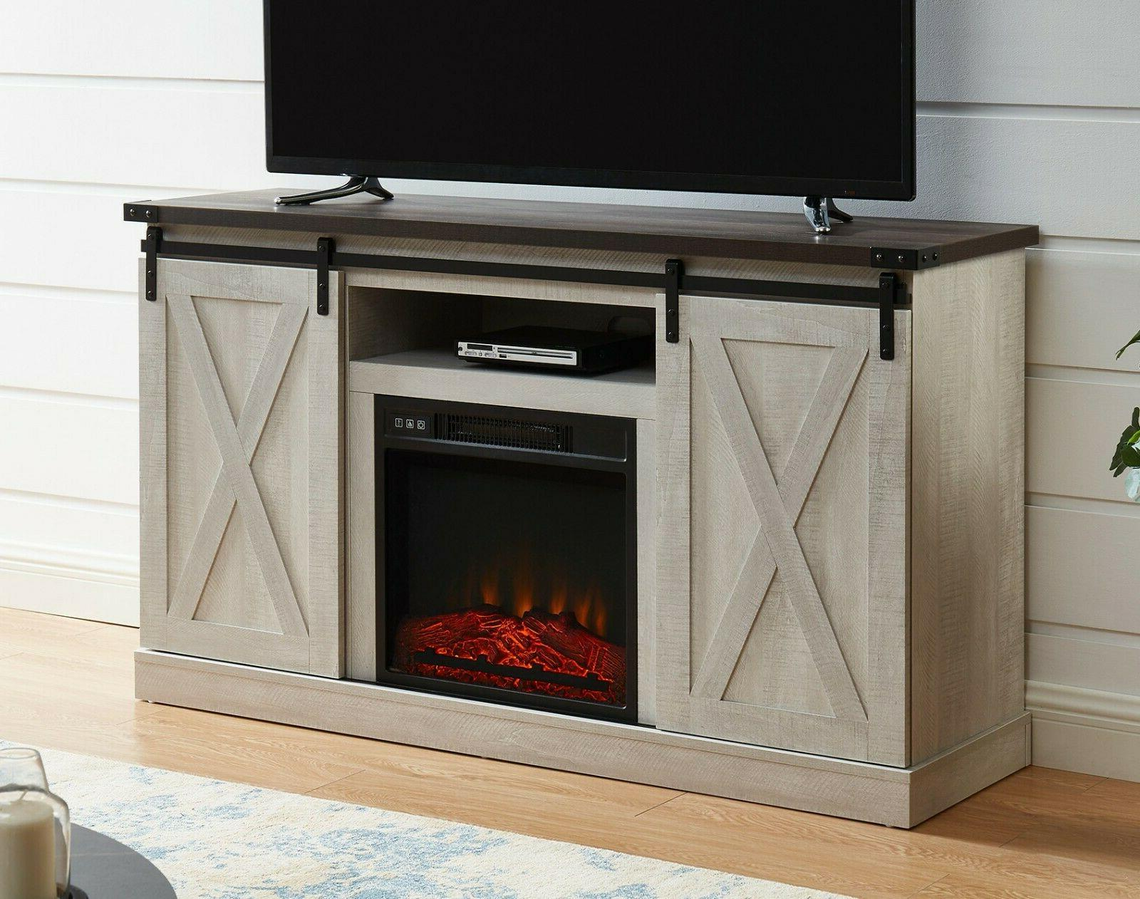 """Electric Fireplace Stand Media Storage Console Shelves 65"""""""