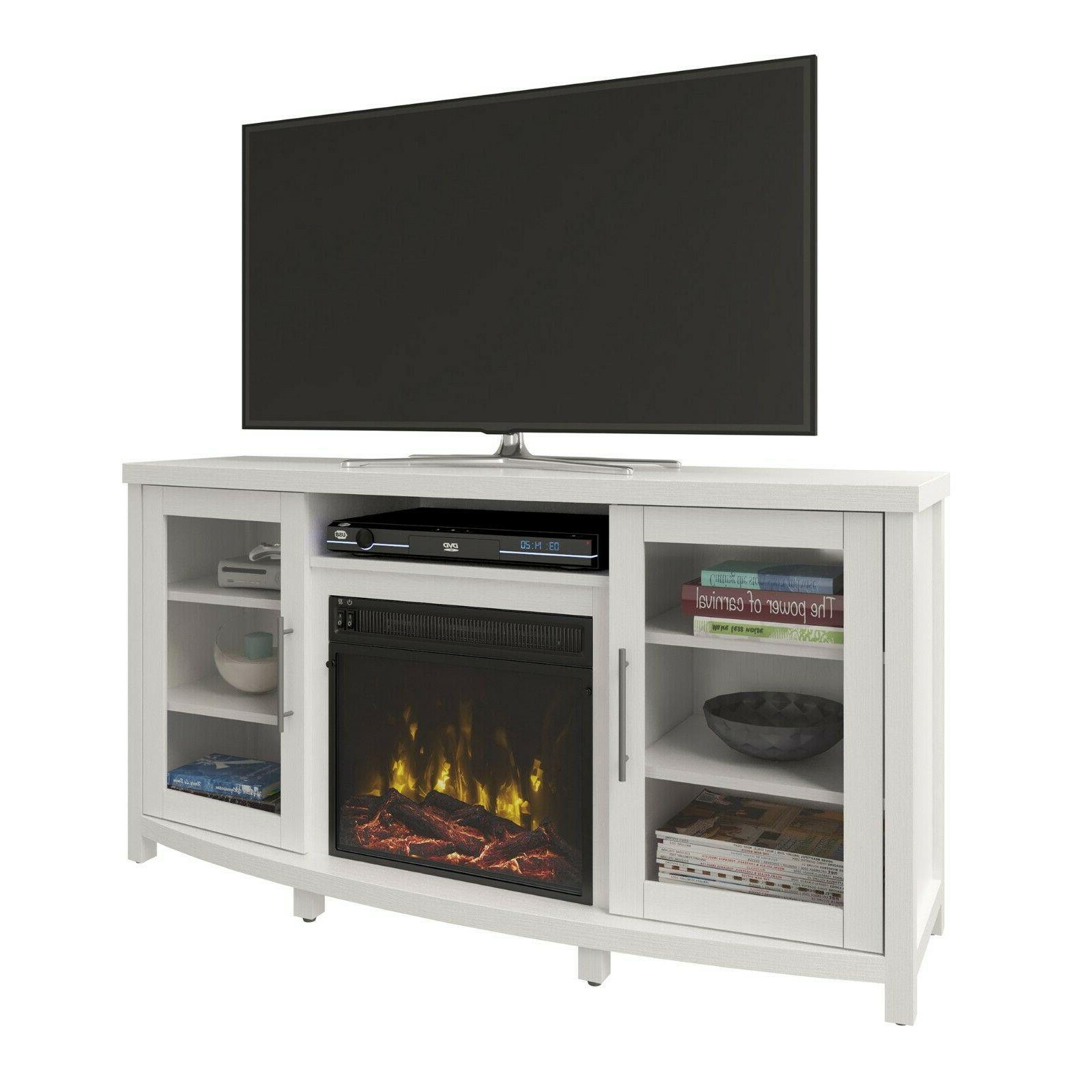 Electric Fireplace TV Stand White LED Flames Heater TVs up t