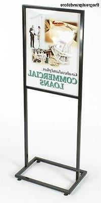 Displays2go Floor Sign Holder Stand with Glossy Black Finish
