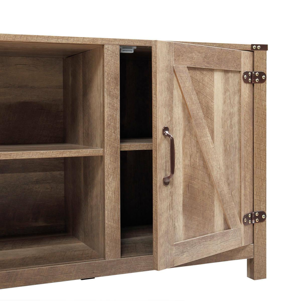 Industrial TV Stand Console Wooden Center w/