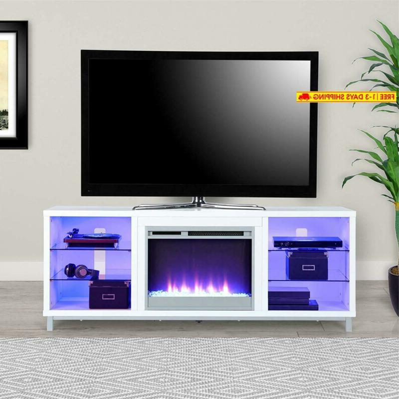 """Lumina Fireplace Tv Stand For 70"""", White"""