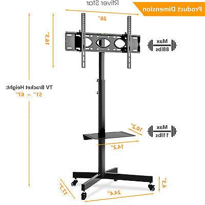 Mobile TV Cart Stand with Wheels for