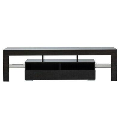 """63"""" TV Stand with LED Wood Media for 70"""" TV"""