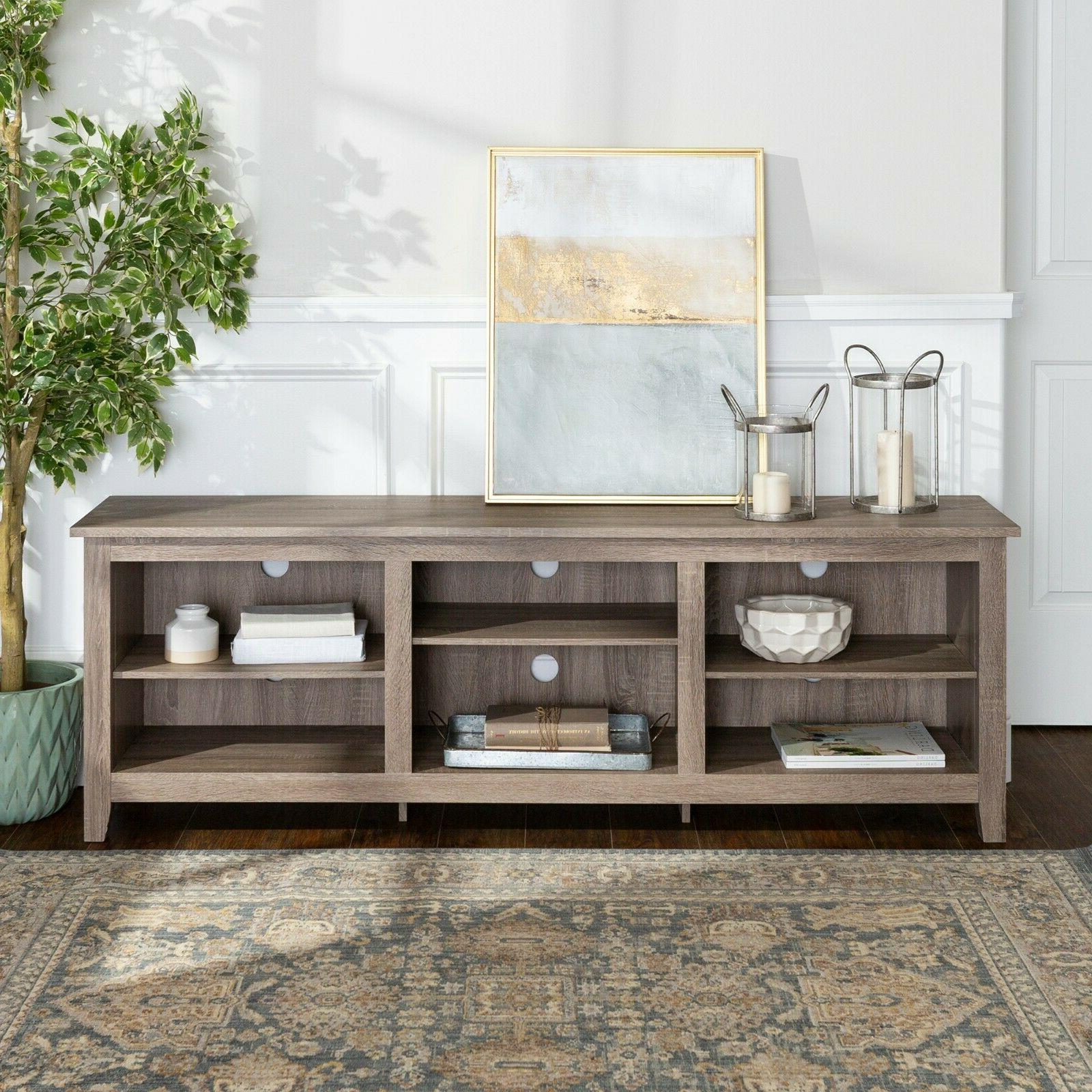 new 70 inch essential tv stand driftwood