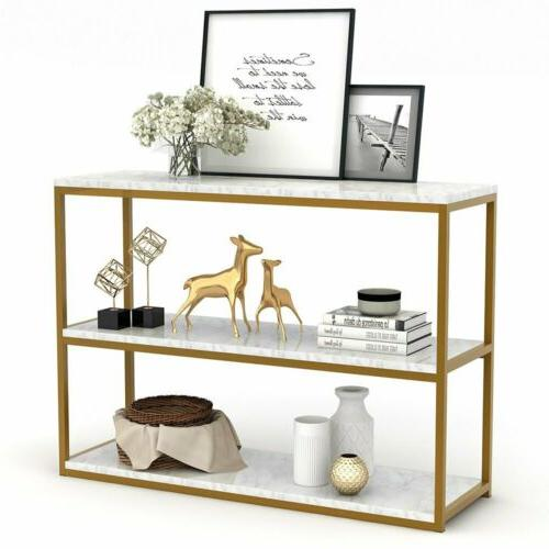 Sofa Entry Table with Gold Metal Frame for Home Creamy White