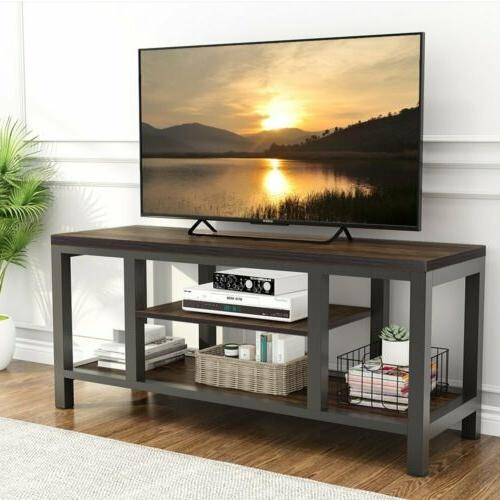 Vintage Media Stand for 60'' TV 3-Tier Console Table with Am