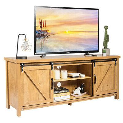 tv stand media center console cabinet sliding