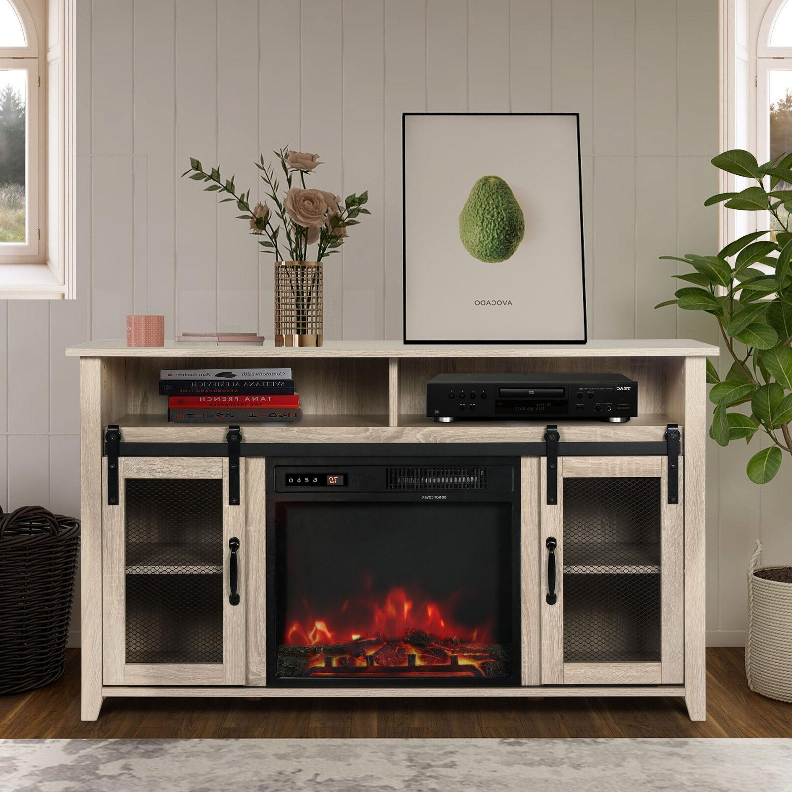 tv stand with electric fireplace included media