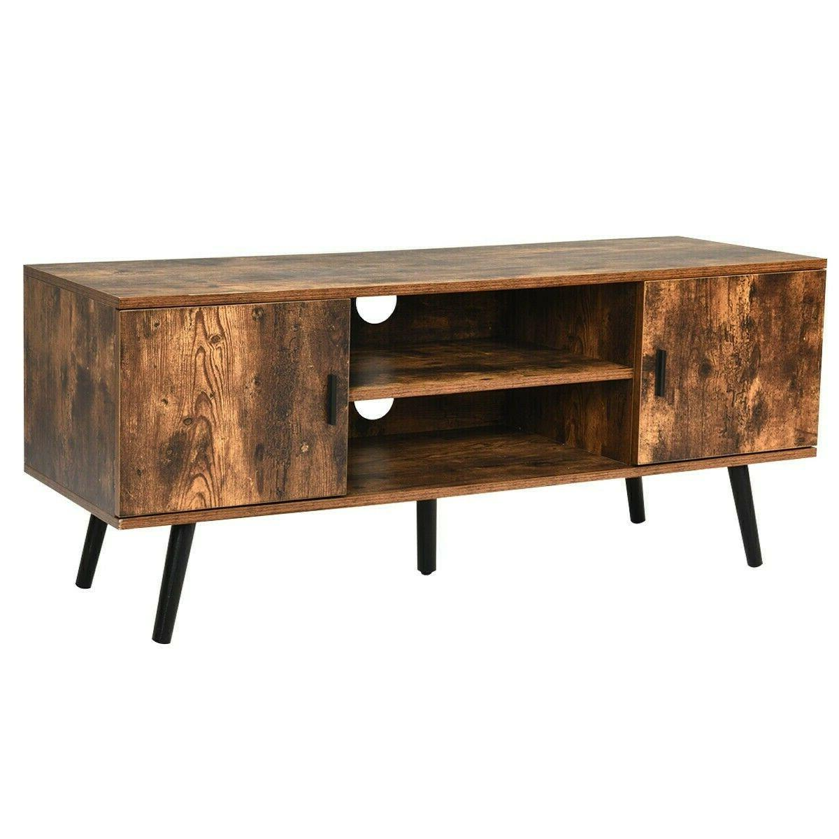Wood Stand Unit Cabinet Living Table Shelves Industrial
