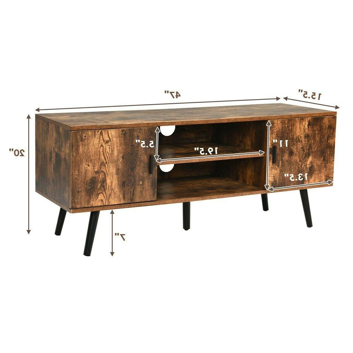 Wood TV Stand Unit Cabinet Living Room Console Table Shelves