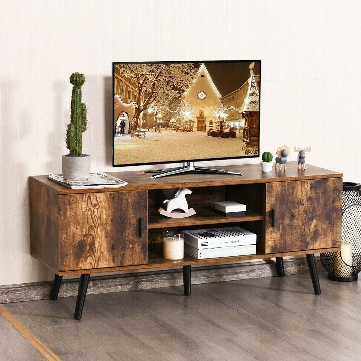 Wood TV Cabinet Living Room Table Shelves Rustic