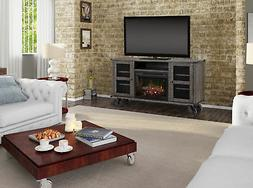 MEDIA CONSOLE WITH OPEN STORAGE SPACE OR OPTIONAL ELECTRIC F