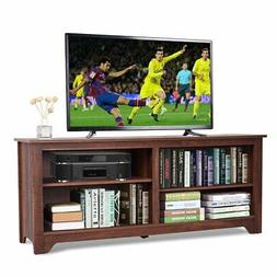 Medium Brown Wood TV Stand Entertainment Center for up to 60