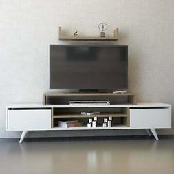 Decorotika Melanie 71-inch TV Stand with open shelves White,