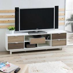 Modern 70-inch White TV Stand Entertainment Center with Natu