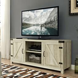 """Modern Farmhouse Barn Door TV Stand for TV's up to 64"""" - Whi"""