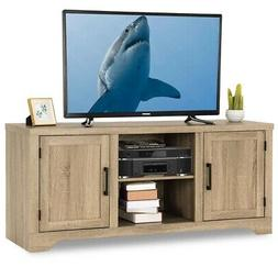 Natural Wood TV Stand Entertainment Center for up to 60-inch